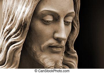 Sepia-toned Jesus statue, profile
