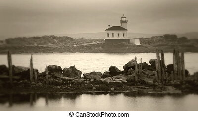Sepia toned lighthouse - Coquille River Lighthouse, Bandon,...