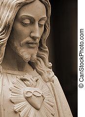sepia-toned, statua, jezus