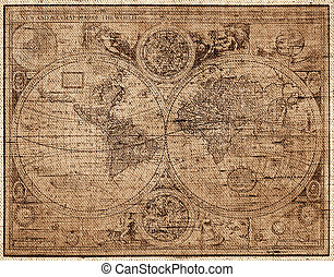 The world map in style of a copper engraving