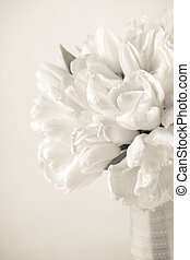 Sepia toned Tulip bouquet - Bridal bouquet of tulips with...