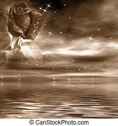 sepia toon, romantische, achtergrond, nacht