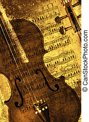 Sepia violin - Classical violin isolated against a grunge...