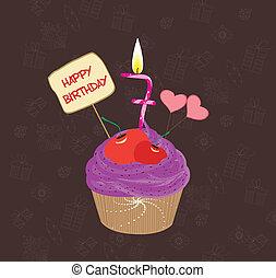 sept, anniversaire, nombre, petit gâteau