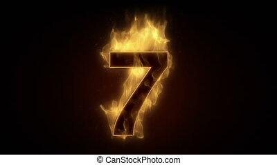 sept, ardent, nombre, brûlé, boucle
