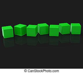 sept, blocs, lettre, copyspace, exposition, 7, vide, mot