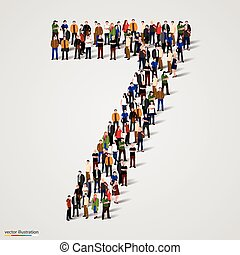 sept, groupe, formulaire, gens, nombre, grand, 7