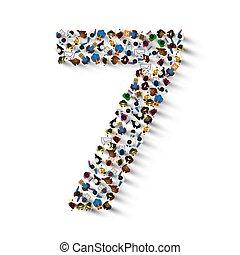 sept, groupe, gens, nombre, form., grand, 7