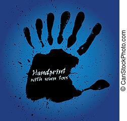 sept, handprint, doigts