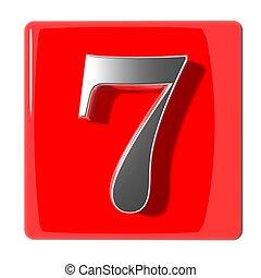 sept, nombre, icône