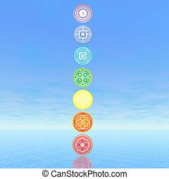sept, render, colonne, -, symboles, chakra, 3d