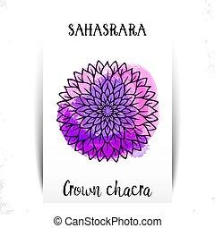 sept, -, symbole, arrière-plan., hindouisme, aquarelle, illustration, septième, chakra, violet, une, brouillard, chakras., buddhism., sahasrara., couronne
