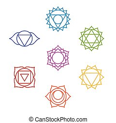 sept, symbols., yoga, ensemble, chakra, méditation