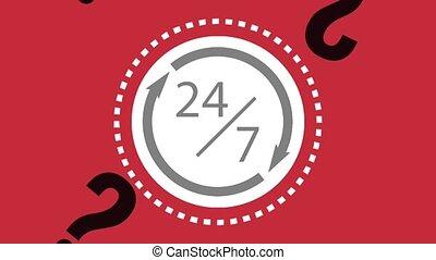 sept, twentyfour, service, jours, animation, hd