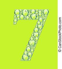 sept, vert, bulles