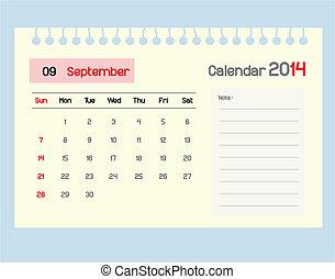 septe, カレンダー, monthly., スケジュール