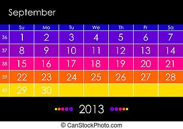september, 日历, 矢量, -, 2013