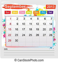 september, 日历, 2013