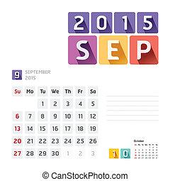 september, 矢量, 2015, 日历, design.