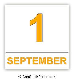 September 1. Day on the calendar. 3D illustration
