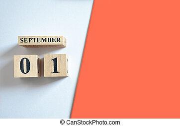 September 1, Empty white - orange background.