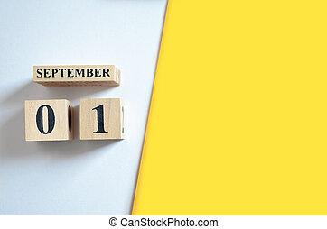 September 1, Empty white - Yellow background.