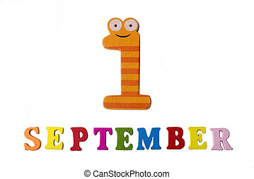 September 1, on a white background, the letters and numbers.