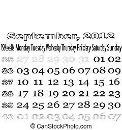 September 2012 monthly calendar