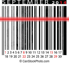 SEPTEMBER 2014 Calendar, Barcode Design. vector illustration