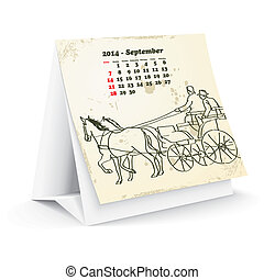 September 2014 desk horse calendar - vector illustration
