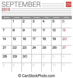 2015 september calendar design 2015 calendar design with metallic