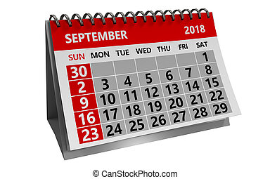 september 2018 calendar - 3d illustration of august 2018...