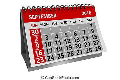 september 2018 calendar - 3d illustration of august 2018 ...