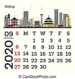 September 2020 Calendar Template with Beijing City Skyline.
