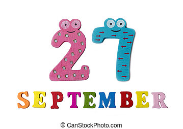 September 27 on white background, letters and numbers.