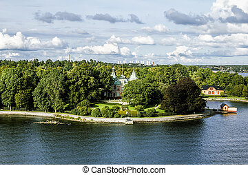 View the sights and the coastal area in Central Stockholm.Sweden.