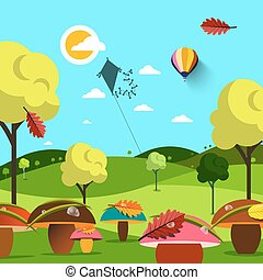September Autumn Landscape. Field with Mushrooms and Trees. Kite and Sun on Sky. Vector Flat Design Illustration.