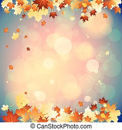 September background with falling autumn leaves. Place for...