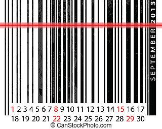 september, barcode, 描述, 日历, 矢量, 2013, design.