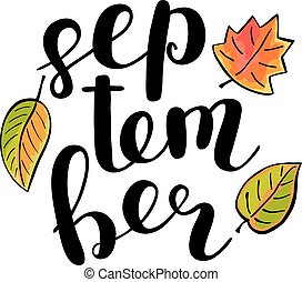 September. Brush lettering.