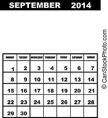 September calendar 2014 isolated