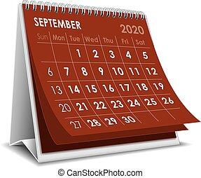 September calendar 2020 - September 3D desktop calendar 2020...