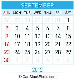 September calendar. Illustration on white background for...