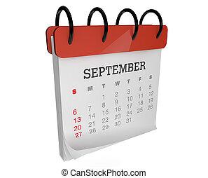 september calendar - render of an square calendar september...