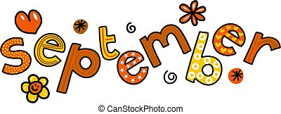 September Clip Art - Whimsical cartoon text doodle for the ...