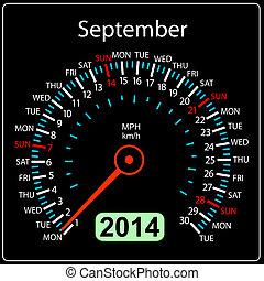 september., coche, vector., año, 2014, calendario, velocímetro