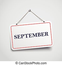 September hanging sign
