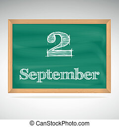 september, inschrift, 2, tafelkreide, tafel