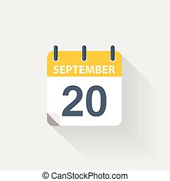 september, kalender, 20, pictogram