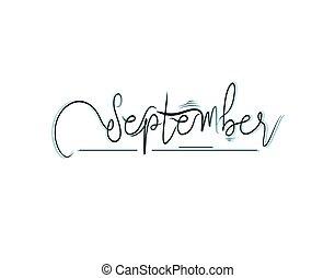 September Lettering Text on white background in vector illustration